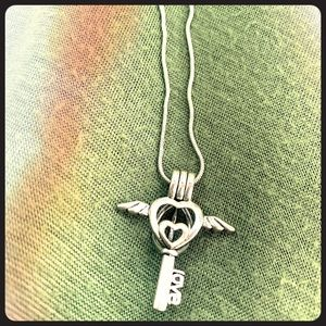 Wing Heart Key Cage Necklace